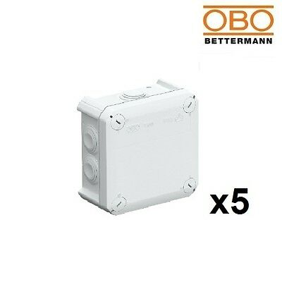 5x OBO Bettermann Junction Box T60 114x114x57mm 2007 061 Light Grey IP66 2007061