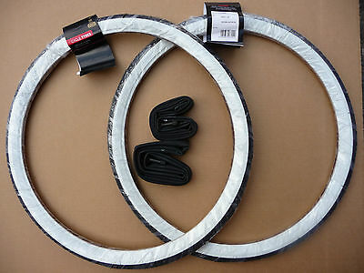 Pair of Raleigh Record 20x1 3/8 WHITE WALL Tyres & innertubes 37-451 Bike