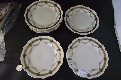 8 Mz Austria Gold And Pink Dessert Plates For Use Or Crafts