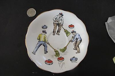 1 Men With Brooms Curling Saucer  Royal Standard