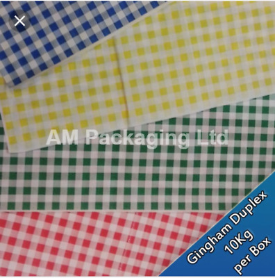 """* Duplex Green Gingham Paper Sheets Size 10 x 15"""" Food Wrapping 10kg HDS006"""