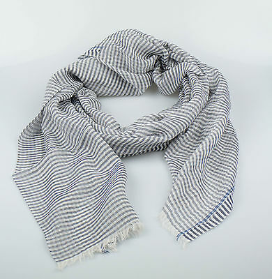 New. ERMENEGILDO ZEGNA Men's Gray Striped Cotton Scarf $200