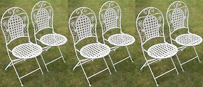 Six White Floral Outdoor Folding Metal Round Garden/Patio Chairs
