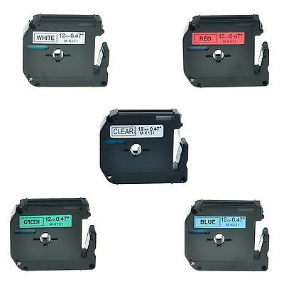 """5PK M-K MK 131 231 431 531 731 Label Tape For Brother P-Touch PT-45M 1/2"""" 12mm"""