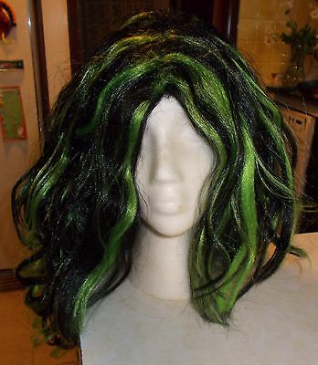 Green & Black Hair Wig One Size Fits All Surplus Halloween Costume Totally Ghoul