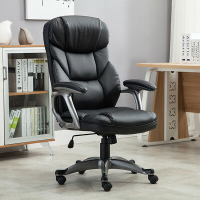 Ergonomic Office Executive Computer Desk Chair PU Leather 360 Swivel Chair Black