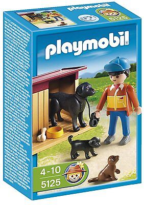 BNIB Playmobil 5125 FARM Country Boy with Dogs and Kennel