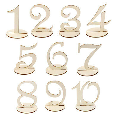 10pcs Freestanding Wooden Table Numbers 1-20 Wedding Birthday Party Decoration