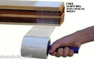 CLEAR STRETCH PALLET WRAP - 100mm x150m & FREE DISPENSER x 2 rolls