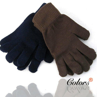 Color5 Unisex Men Women Adult Winter Warm Knitted Gloves Plain Black Brown Navy