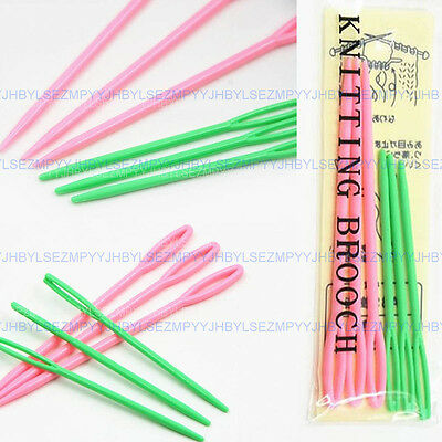 6PCS Colourful Plastic Sewing Needles Threading Craft Children Cross Stitch