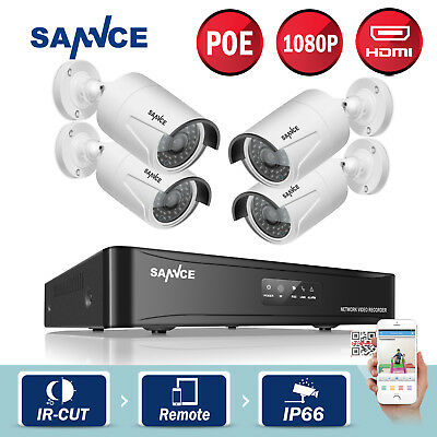 ANNKE 4CH 1080P NVR 2MP Network POE HDMI Outdoor Home Security IP Camera System