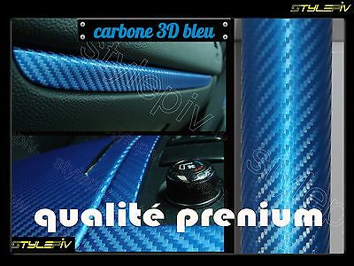 Film vinyle covering carbone 3D bleu metal 152x30cm thermoformable adhesif