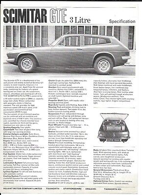 Reliant Scimitar Gte 3 Litre Specifications Sales 'brochure' Sheet 1969