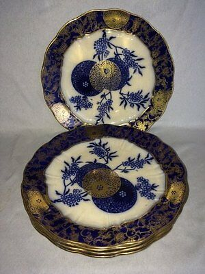 "**RARE** Doulton Burslem 'Persian Spray' 5 x 9.5"" Dessert Plates (Royal)"