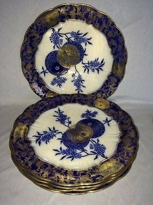 "**RARE** Doulton Burslem 'Persian Spray' 5 x 10.5"" Dinner Plates (Royal)"