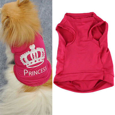 1X Summer Pet Dog Cat Cute Princess T-shirt Vest Coat Pet Puppy Clothes Costumes