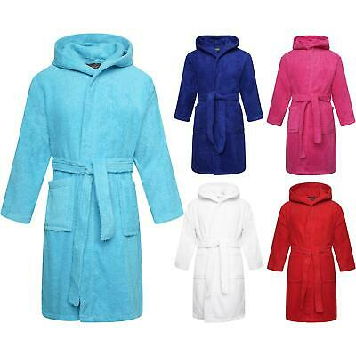 Kids Childrens 100% Cotton Bathrobe Terry Towelling Hooded Bath Robe Gown