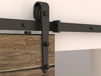 6/6.4ft Rustic Black Sliding barn wood door Arrow wheel Closet door track kit