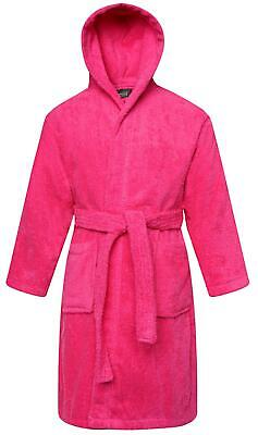 Girls Bathrobe 100% Cotton Pink Towelling Hooded Kids Bath Robe Gown Ages 2-13