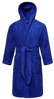 Kids 100% Cotton Blue Terry Towelling Hooded Bathrobe Bath Robe Gown Ages 2-13