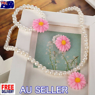 NEW Children Kids Pink Daisy White Pearl Necklace Bracelet Jewelry Set Gift