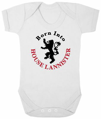 GAME OF THRONES Bodysuit/Grow/Vest Newborn Baby Shower BORN INTO HOUSE LANNISTER
