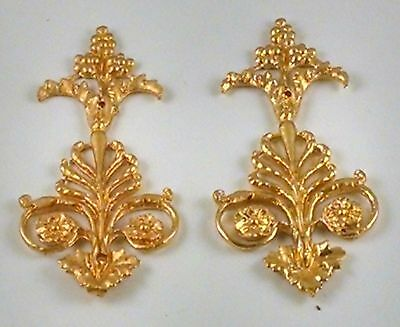 ORMOLU 19th C. GILDED PAIR FURNITURE HARDWARE ART FLOWER BORDERS NEOCLASSICAL