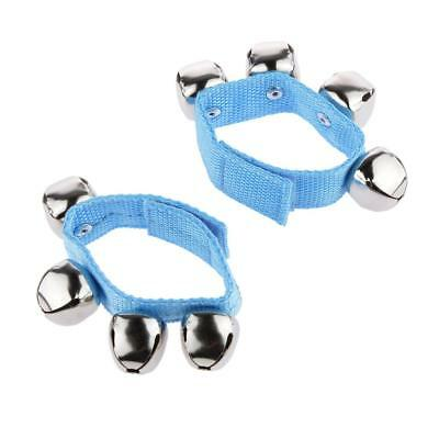 1 Pair Blue Wrist Ankle Bells Jingles Rhythm Instrument Toys for Baby Kids
