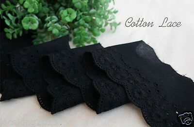 "14Yds Broderie Anglaise cotton eyelet lace trim 2.4""(6cm) Black YH865 laceking"