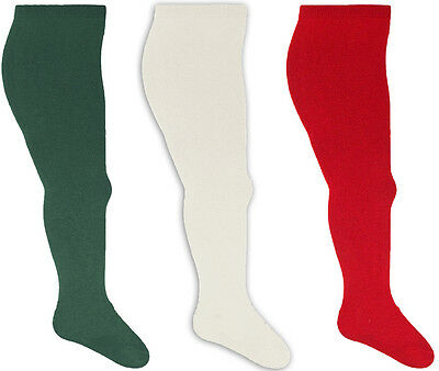 Plain Childrens Toddlers Tights Stretch Cotton Christmas Green Red Cream Festive