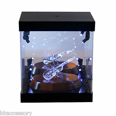 Acrylic Display Case LED Light Box for Swarovski Crystal Alice Cheshire Cat Olaf