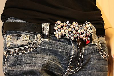 Sparkling Wildfire Swarovski Crystal Cowhide Bling Cowgirl  Belt Small - XXL