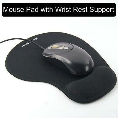 Mouse Mat with Gel Rest Anti Non-slip Rubber base Comfort Wrist Mice Pad - Black