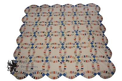 Circa 1915 Colorful Antique Hand Sewn Patchwork Made Quilt Rare Charming Blanket