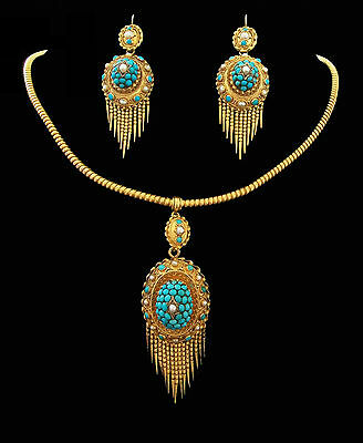 Etruscan Revival 18K Gold Suite - Domed Pave Set Turquoise & Pearls - Circa 1870