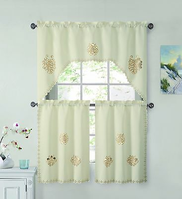 3 Piece Doily Floral Embroidered Kitchen Window Curtain Set: Ivory/Gold