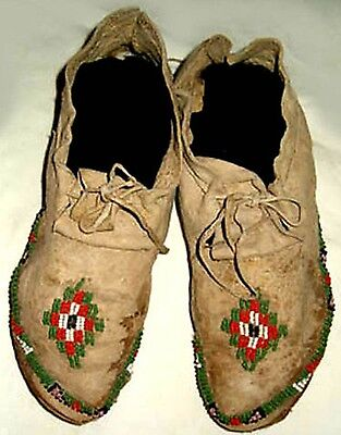 """Vintage 10"""" Antique Native American Late 1800's Plains Indian Beaded Moccasins"""