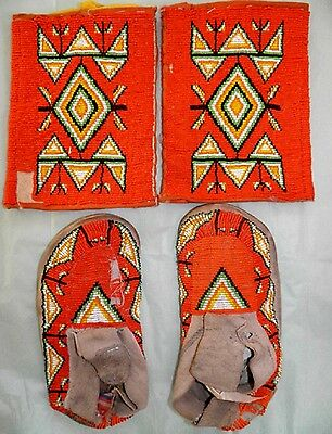 Vintage Antique Native American Sioux Indian Bead Moccasins & Armbands Leggings