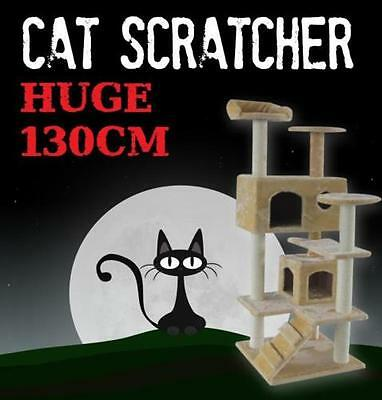 Deluxe 130cm Cat Scratcher Scratching Post Scratch Pole Tree House Multi Level