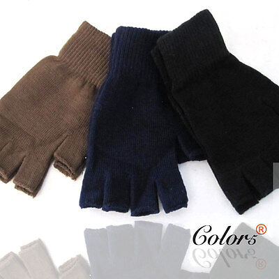 Color5 Unisex Men Women Winter Knitted Fingerless Gloves Plain Black Brown Navy