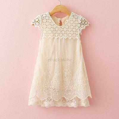 Toddler Kids Girls Princess Party Pageant Dresses Baby Summer Lace Crochet Dress