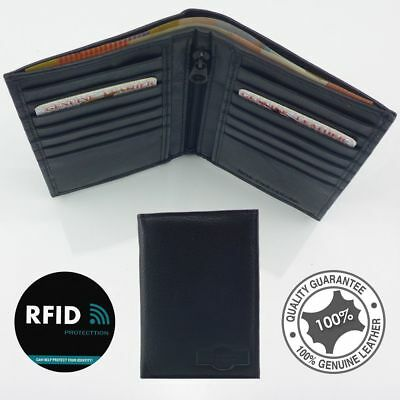 RFID Genuine Leather Slim Wallet Credit Card Holder Full Grain Soft Leather