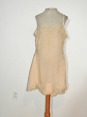 1930's Madelon - New York - Paris  peach Silk Crepe 1 Pc Step in - Teddy MED