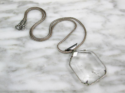 Vtg Sterling Silver Woven Wheat Chain Necklace Lg Faceted Rock Crystal Pendant