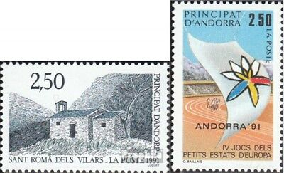 Andorra-French Post 421,422 mint never hinged mnh 1991 Tourism, Sports