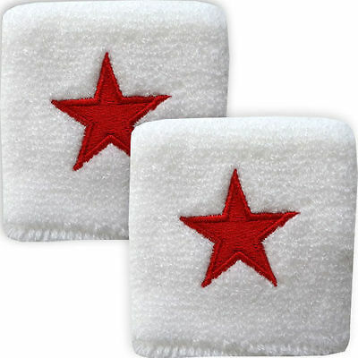 Pair of White Red Nautical Star Wrist Sweatbands Wristbands Table Tennis Sport
