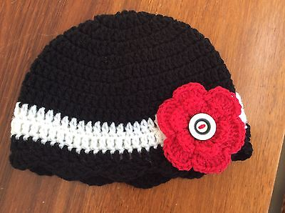 BLACK & WHITE CROCHET BABY BEANIE  with RED FLOWER - 3 - 6 months  made in WA