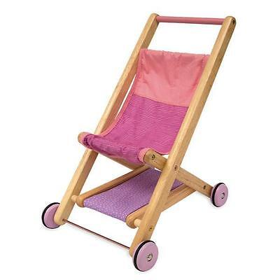 NEW I'm Toy Traditional Pink Wooden Dolls Push Stroller
