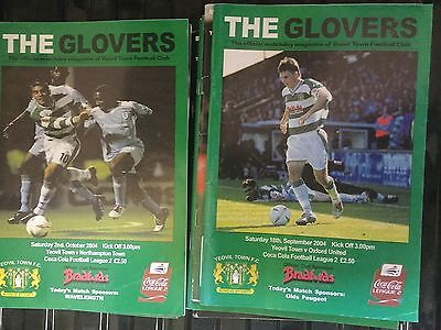 Job Lot Of 18 The Glovers Yeovil Town Football Programme